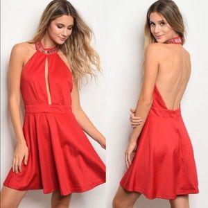 NEW Red Mini Dress with Rhinestones
